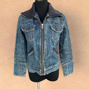Gap vintage style denim jacket with knit collar